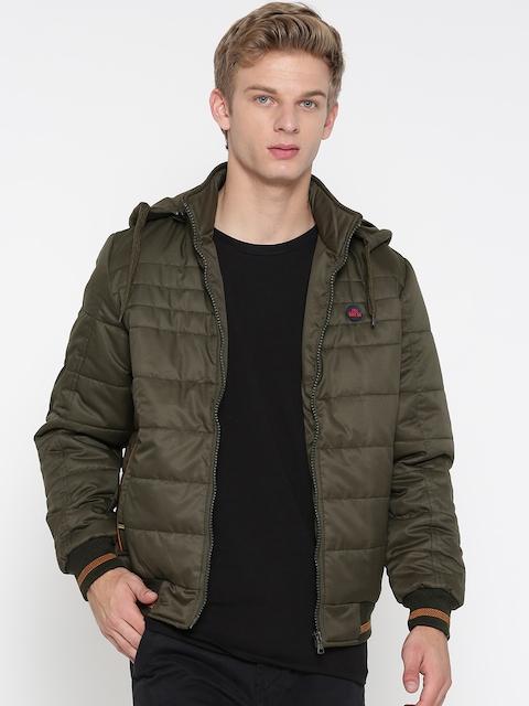 Fort Collins Men Olive Green Solid Bomber Jacket with Detachable Hood
