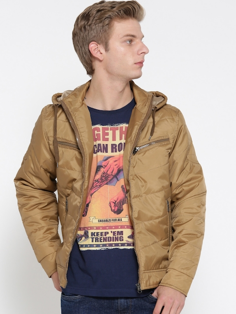Fort Collins Men Khaki Solid Tailored Jacket  available at myntra for Rs.1189