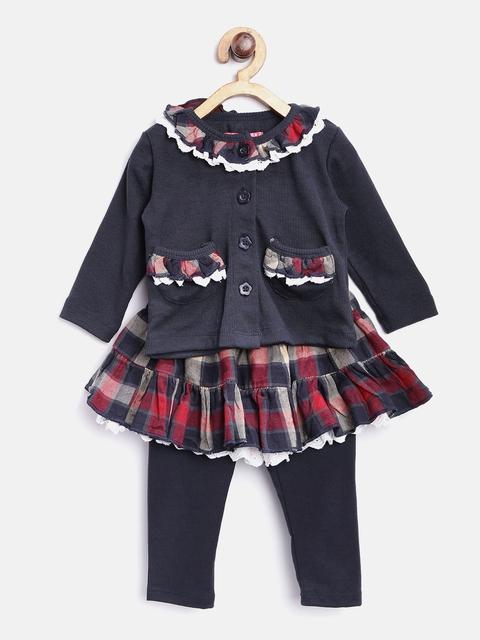 Nauti Nati Girls Navy & Beige Checked Clothing Set