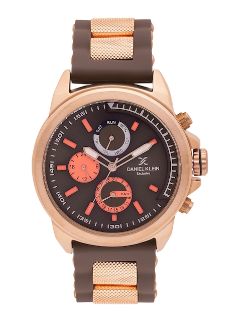 Daniel Klein Men Brown & Orange Analogue Watch DK10984
