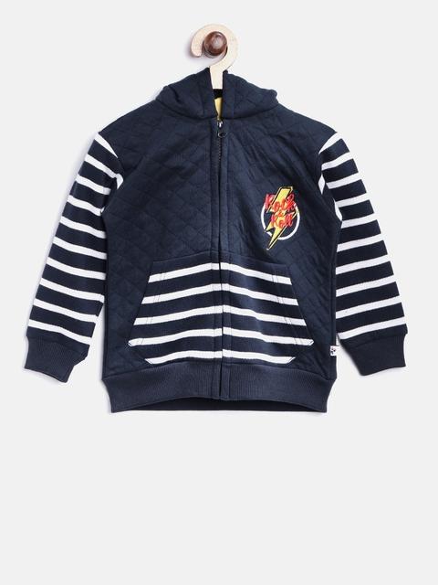 Nauti Nati Boys Navy Blue Striped Hooded Sweatshirt