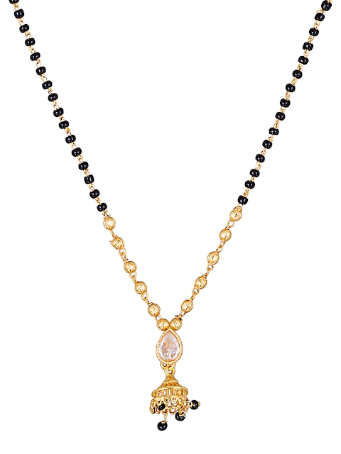 Sia Art Jewellery Gold-Plated & Black Stone-Studded Mangalsutra