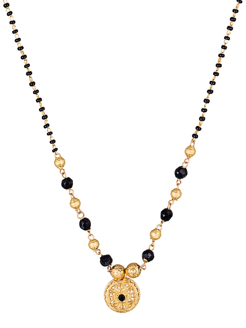 Sia Art Jewellery Gold-Toned & Black Beaded Mangalsutra