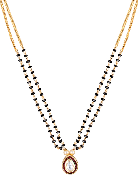 Sia Art Jewellery Gold-Toned & Black Beaded Dual-Stranded Mangalsutra