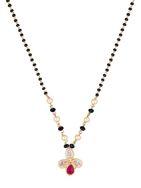 Sia Art Jewellery Gold-Toned & Black Beaded Mangalsutra