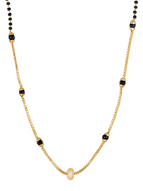 Sia Art Jewellery Gold-Toned & Black Beaded Magalsutra