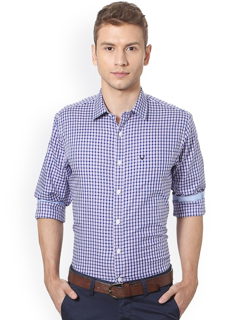 Allen Solly Men Blue & White Slim Fit Checked Casual Shirt