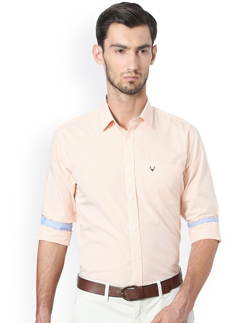 Allen Solly Men Orange & White Slim Fit Checked Casual Shirt