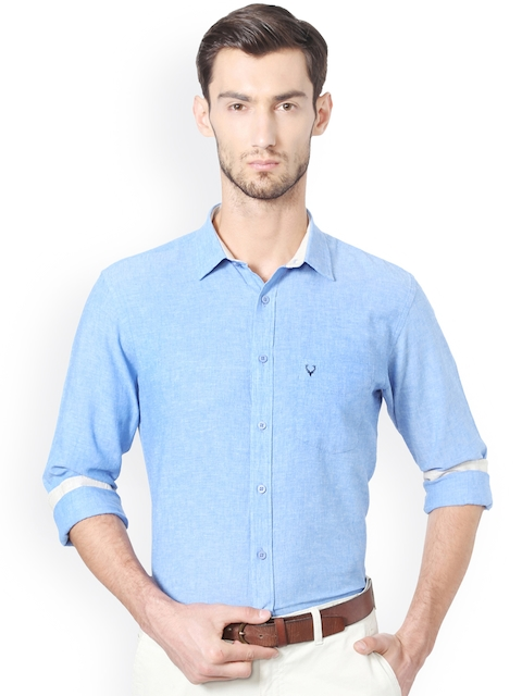 Allen Solly Men Blue Slim Fit Solid Linen Casual Shirt
