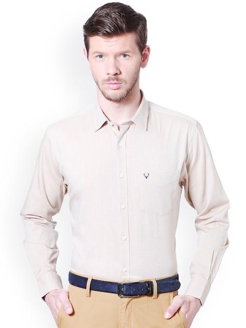 Allen Solly Men Beige Slim Fit Solid Semi Formal Shirt