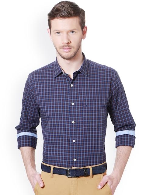 Allen Solly Men Blue & Brown Slim Fit Checked Semiformal Shirt