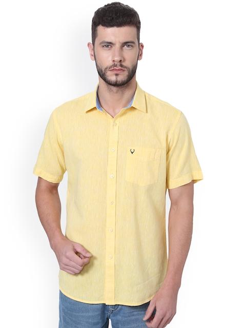 Allen Solly Men Yellow Slim Fit Self Design Casual Shirt