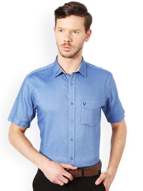 Allen Solly Men Blue Slim Fit Solid Casual Shirt