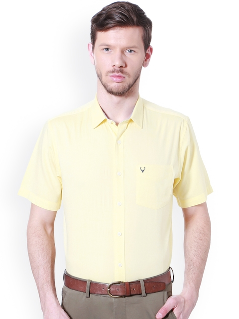 Allen Solly Men Yellow Slim Fit Solid Casual Shirt