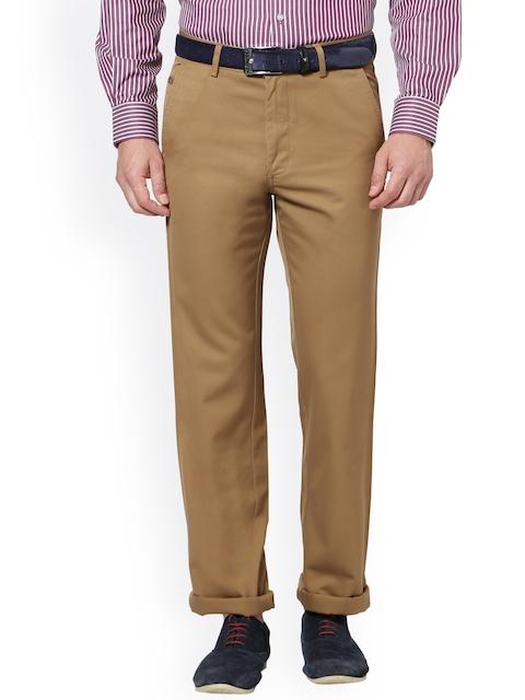 Allen Solly Men Khaki Regular Fit Solid Trousers