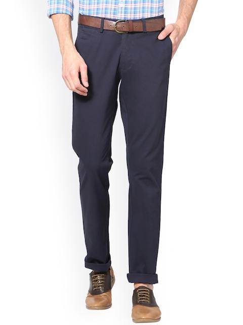 Allen Solly Men Navy Blue Slim Fit Solid Regular Trousers
