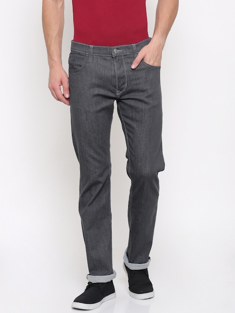 Lee Men Grey Powell Slim Fit Mid-Rise Clean Look Stretchable Jeans