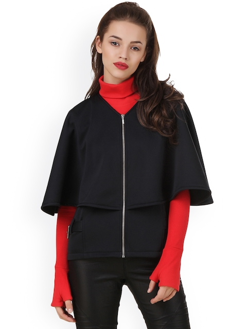 Texco Women Black Solid Cape Jacket