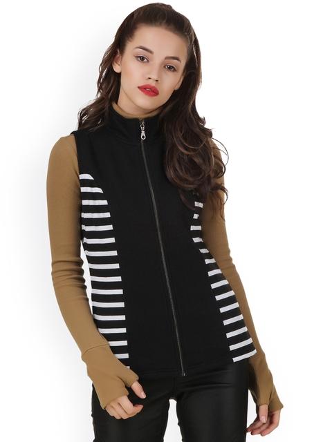 Texco Women Black & White Striped Tailored Jacket