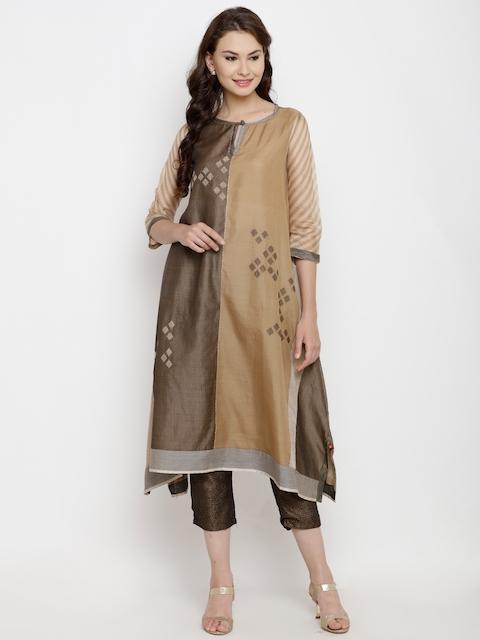 Biba Women Olive Green & Beige Woven Design A-Line Kurta