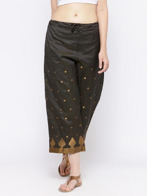Biba Women Charcoal Grey Straight Self-Design Cropped Palazzos