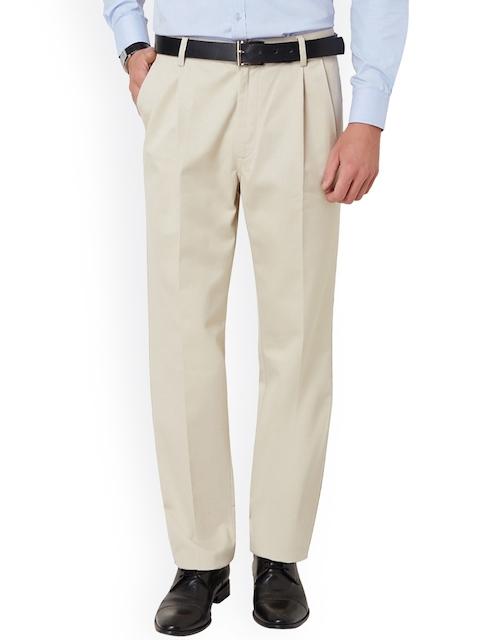 Allen Solly Men Cream-Coloured Regular Fit Solid Regular Trousers