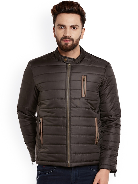 Canary London Men Coffee Brown Solid Quilted Jacket