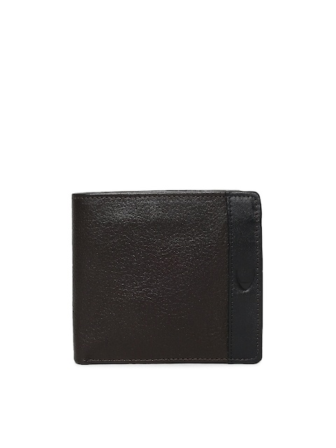 Hidesign Men Brown & Black Leather Two Fold Wallet