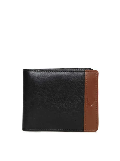 Hidesign Men Black & Tan Brown Textured Two Fold Leather Wallet