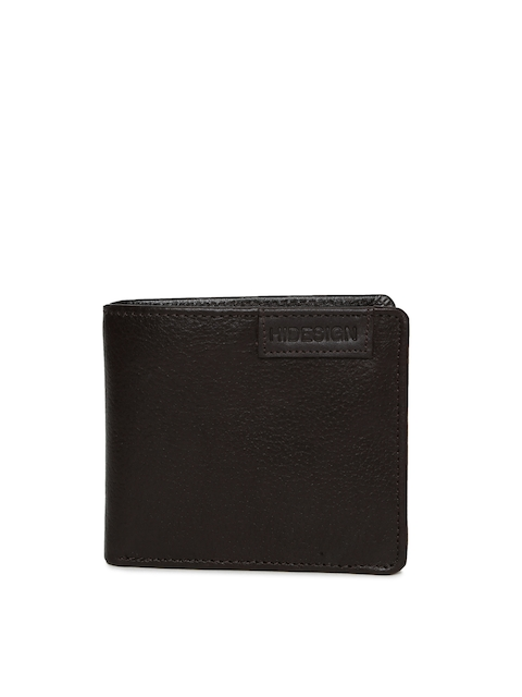 Hidesign Men Brown Textured Two Fold Leather Wallet