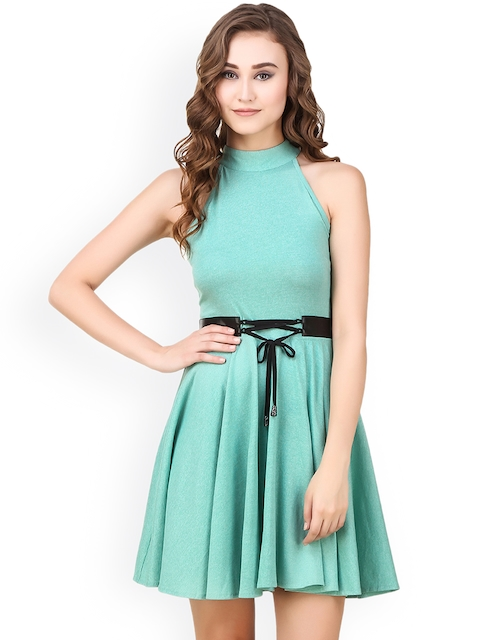 Texco Women Green Self-Design Fit and Flare Dress