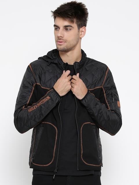 Harley-Davidson Men Black Solid Hooded Sporty Jacket