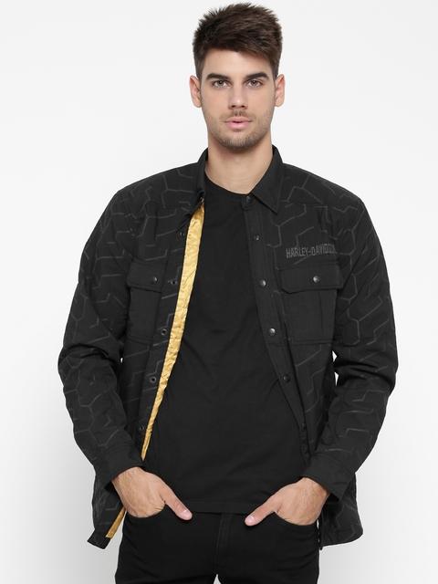 Harley-Davidson Men Black Printed Tailored Jacket