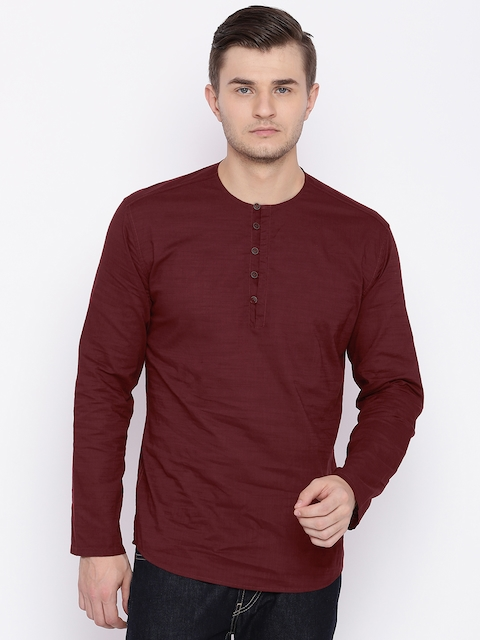 British Club Men Maroon Solid Short Straight Kurta  available at myntra for Rs.598