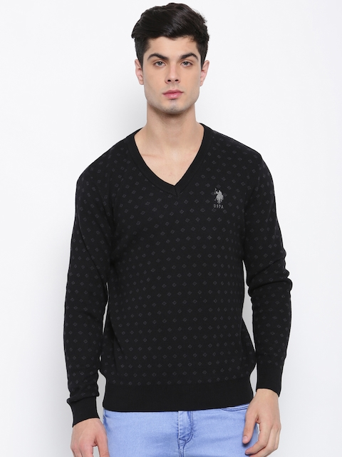 U.S. Polo Assn. Men Black Self Design Pullover