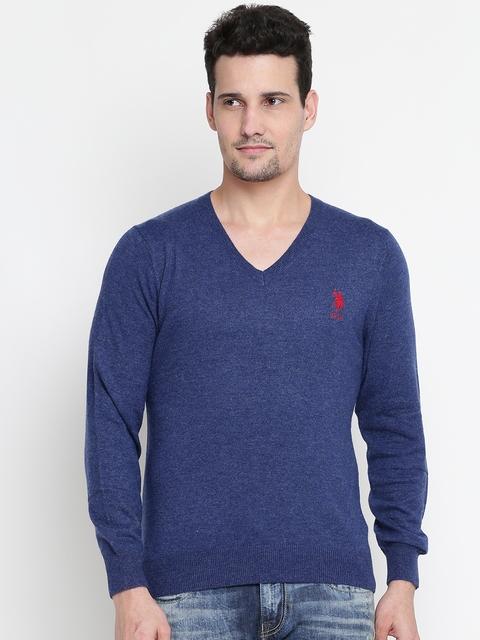 U.S. Polo Assn. Men Blue Solid Sweater