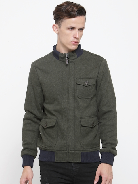 U.S. Polo Assn. Men Olive Green Solid Bomber Jacket