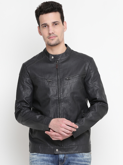 U.S. Polo Assn. Men Black Solid Faux Leather Biker Jacket