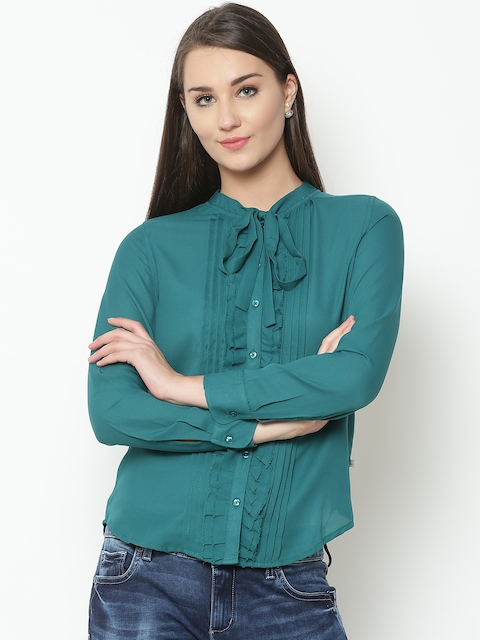 United Colors of Benetton Women Green Solid Shirt Style Top