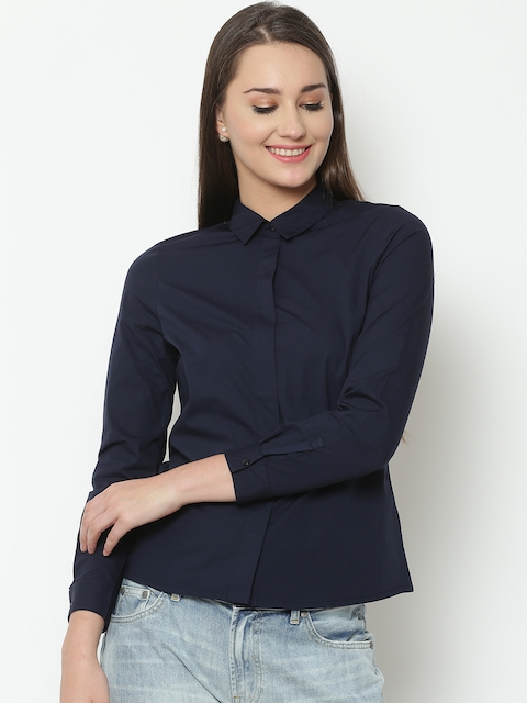 United Colors of Benetton Women Navy Blue Solid Casual Shirt