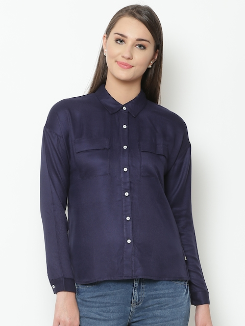 United Colors of Benetton Women Navy Solid Casual Shirt
