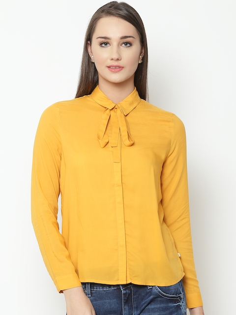 United Colors of Benetton Women Yellow Solid Casual Shirt