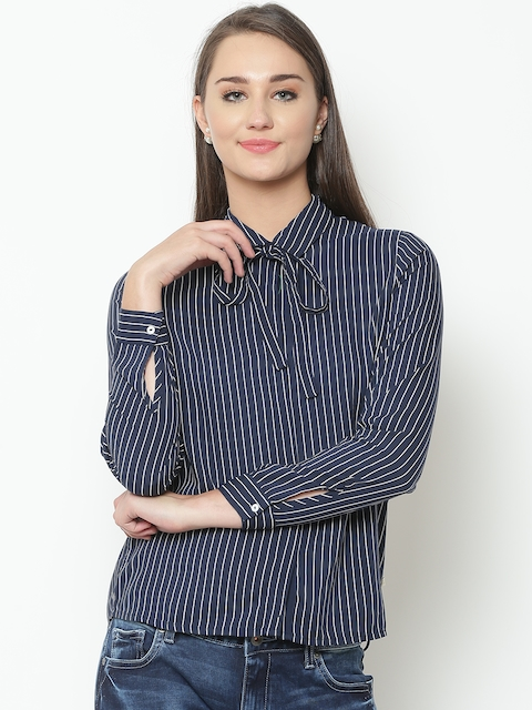 United Colors of Benetton Women Navy & White Striped Casual Shirt