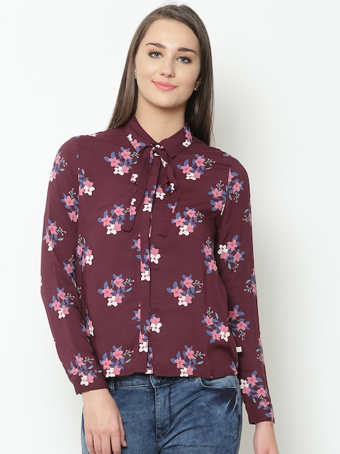 United Colors of Benetton Women Burgundy & Pink Printed Casual Shirt