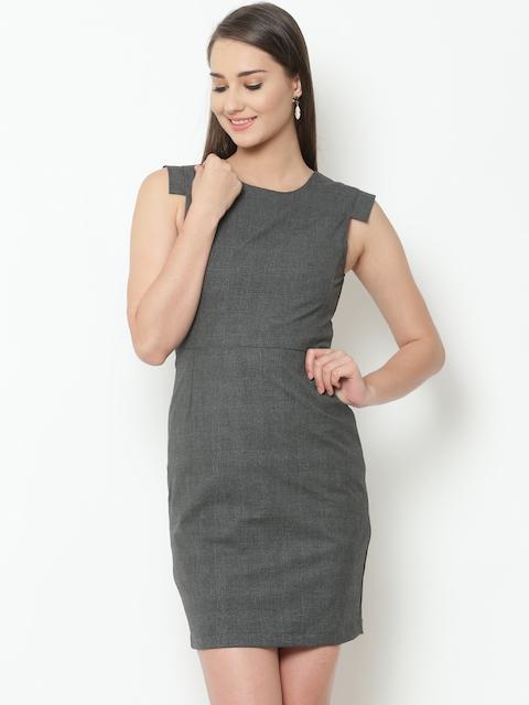 United Colors of Benetton Women Grey Self-Checked Sheath Dress