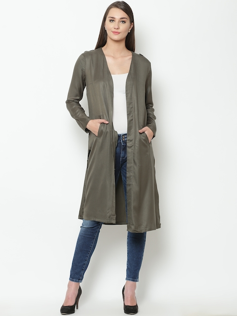 United Colors of Benetton Women Olive Green Solid Longline Jacket
