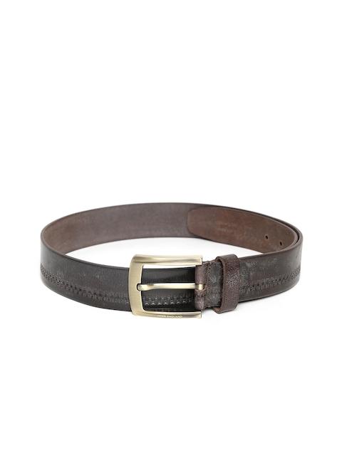 Peter England Men Brown Genuine Leather Textured Belt