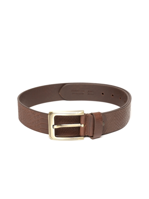Peter England Statements Men Brown Leather Textured Belt