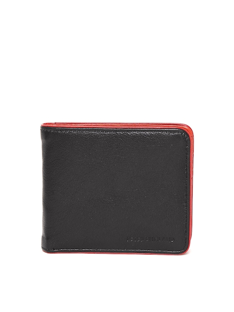 Peter England Men Black Solid Two Fold Wallet
