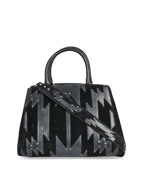 Da Milano Black Textured Handheld Bag